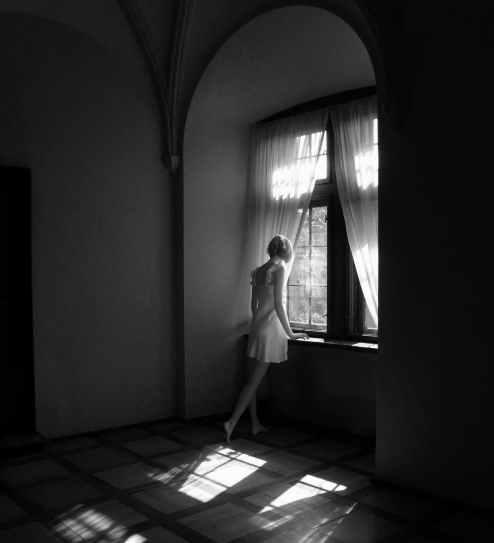 architecture black and white dark door