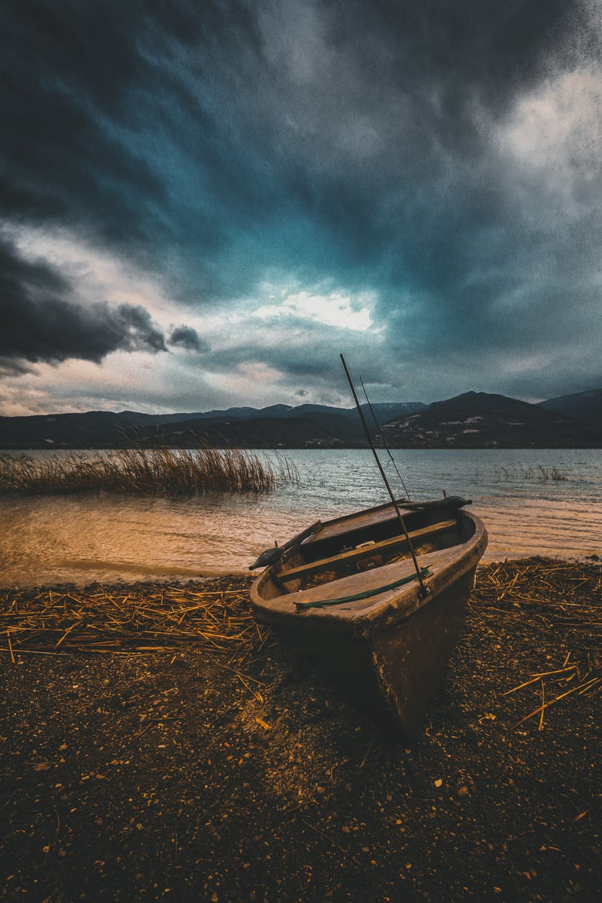 brown boat on beach line